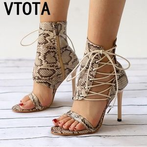 Shoes - Lace-Up Open Toe High Heels Sexy Women Snake Party